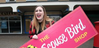 Steph Bannister, aka Scouse Bird Problems, outside her new premises in Crosby Village.