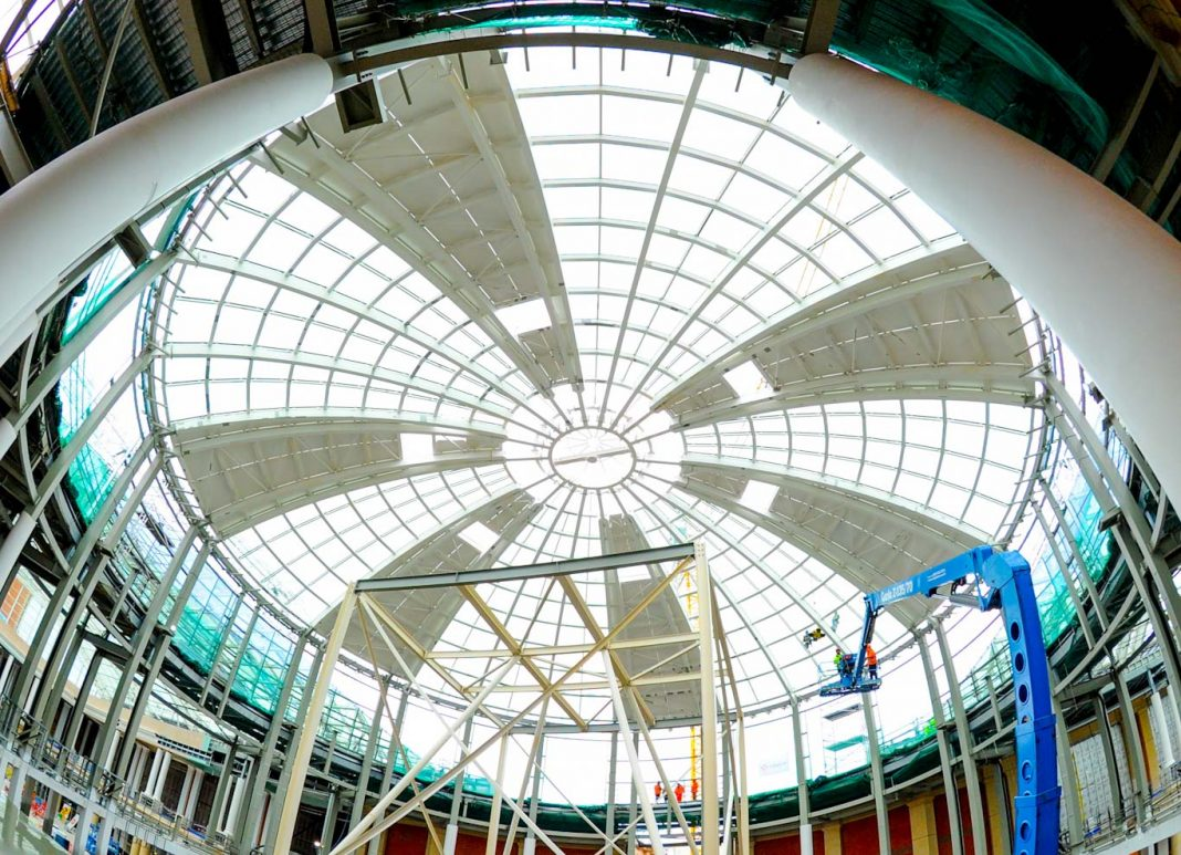 intu Trafford Centre's Barton Square undergoes incredible transformation as the build reaches its half-way point and the vast glazed dome is complete