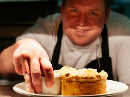 A MEDIEVAL pie which would once have been feasted upon by the monks of Furness Abbey has been recreated by a gourmet chef.